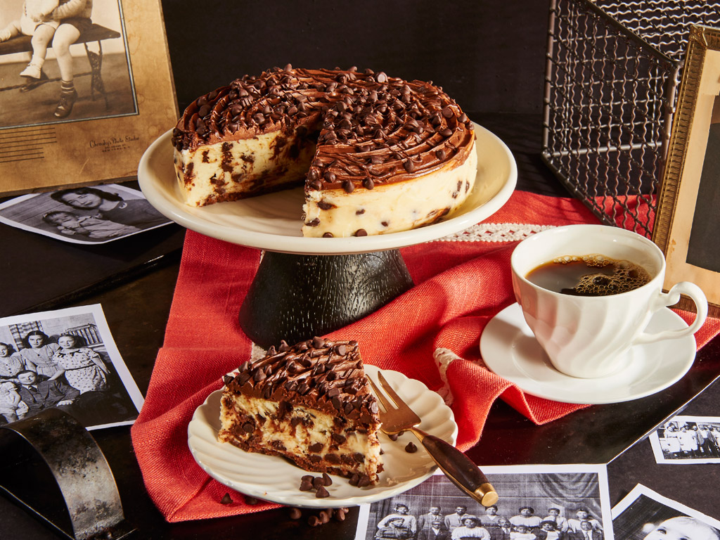 This cheesecake starts with a velvety chocolate frosting. The middle is filled with rich cheesecake and chocolate chips. This cheesecake is the ultimate indulgence. Order online for nationwide delivery!