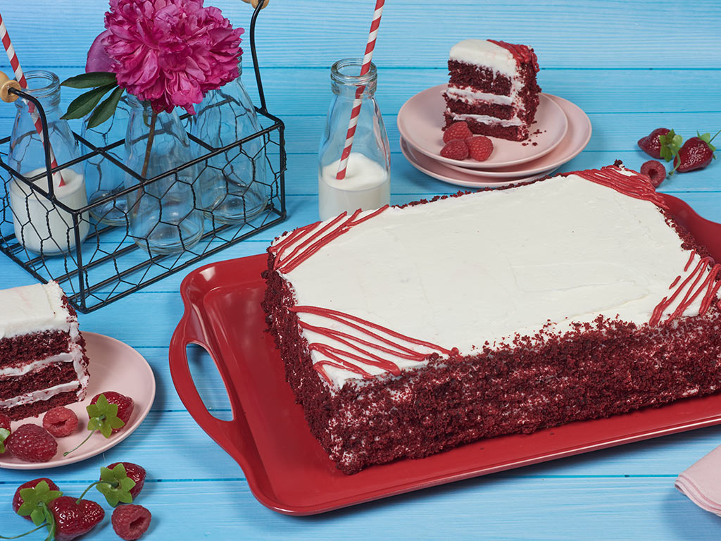 COLOSSAL Red Velvet Happy Birthday Sheet Cake