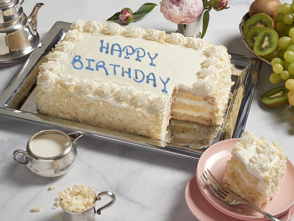 #CAKE ,-COLOSSAL Vanilla Happy Birthday Sheet Cake