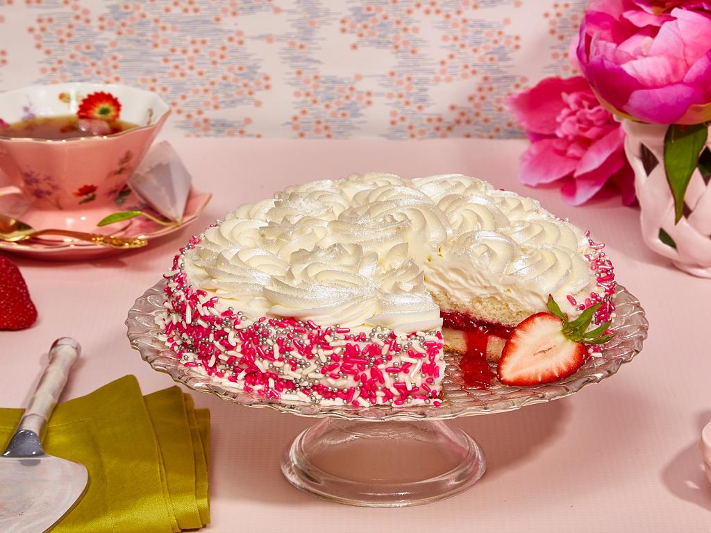 White Rosette Strawberry Cake