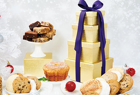 Solid Gold Season's Greetings Bakery Tower