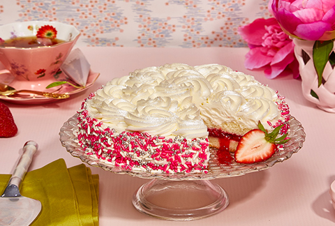White Rosette Strawberry Cake