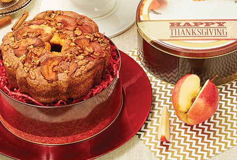 Granny Apple Coffee Cake in Thanksgiving Tin