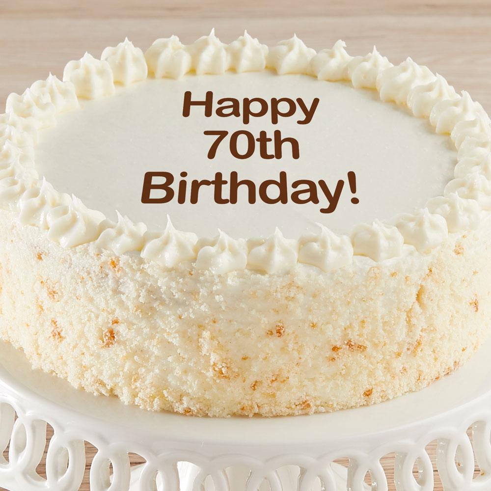 Cool Happy 70Th Birthday Vanilla Cake Delivered Funny Birthday Cards Online Kookostrdamsfinfo