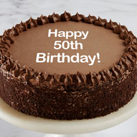 Zoomed in Image of Happy 50th Birthday Double Chocolate Cake