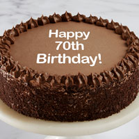 Zoomed in Image of Happy 70th Birthday Double Chocolate Cake