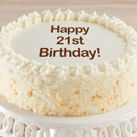 Zoomed in Image of Happy 21st Birthday Vanilla Cake