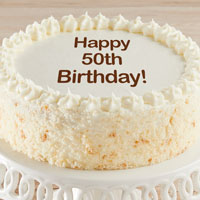Zoomed in Image of Happy 50th Birthday Vanilla Cake