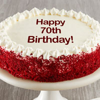 Happy 70th Birthday Red Velvet Cake close-up view image selector
