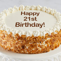 Zoomed in Image of Happy 21st Birthday Carrot Cake