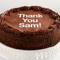Zoomed in Image of Personalized 10-inch Chocolate Cake