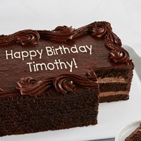 Zoomed in Image of Personalized Chocolate Sheet Cake