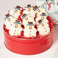 Snowman Cookie Tin close-up view image selector
