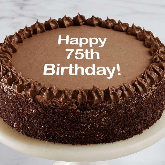 image of Happy 75th Birthday Double Chocolate Cake