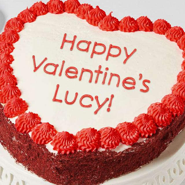 Image of Personalized 10-inch Heart-Shaped Red Velvet Cake