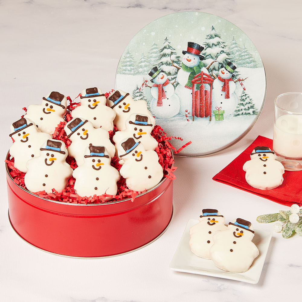 Snowman Cookie Tin full view