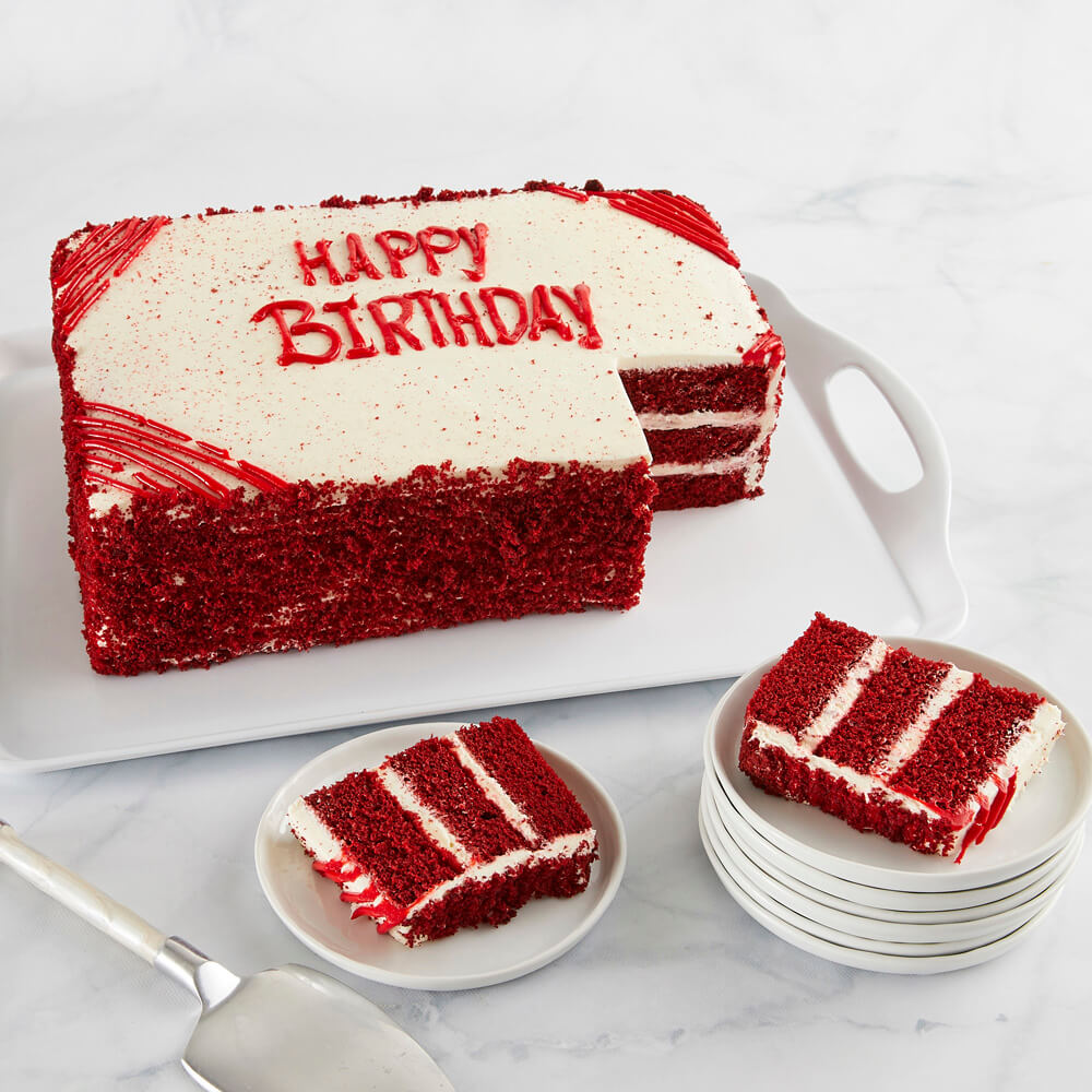 Prime Colossal Red Velvet Happy Birthday Sheet Cake Delivered Personalised Birthday Cards Veneteletsinfo