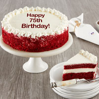 Wide View Image Happy 75th Birthday Red Velvet Cake