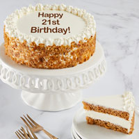 Wide View Image Happy 21st Birthday Carrot Cake