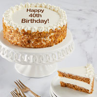 Wide View Image Happy 40th Birthday Carrot Cake