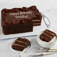 Wide View Image Personalized Chocolate Sheet Cake