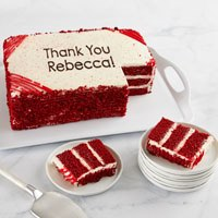 Wide View Image Personalized Red Velvet Sheet Cake
