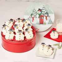 Snowman Cookie Tin Full View Image Selector