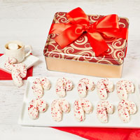 Candy Cane Cookie Tin Full View Image Selector